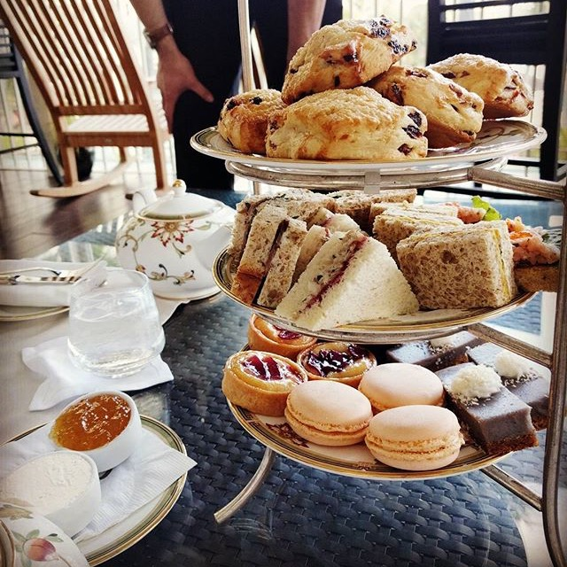With friends at The Veranda in The Kahala Resort for afternoon tea.